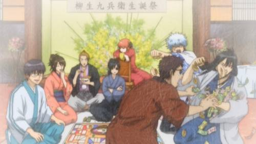 Kyuubei Yagyuu sitting cross-armed, Kagura sitting on chair, Gintoki Sakata raising arm, Gintama