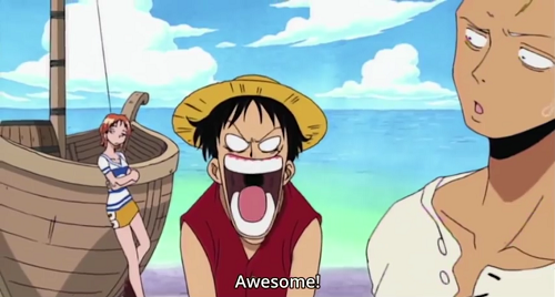 Luffy yells sugoi at Usopp in awe with Zoro looking confused and Nami embarrassed for Luffy