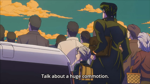 Kouichi comments on the crowd saying sugoi right before Jousuke fights a guy robbing a store