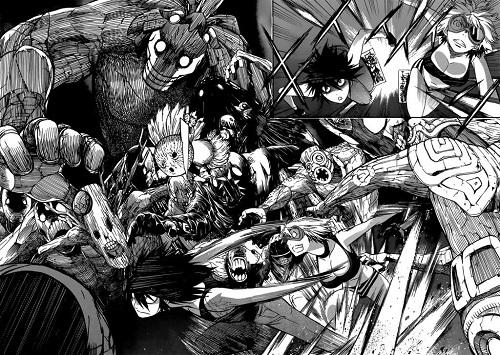 Morito Hayama and Toura the C Rank mercenary running away from attacking monsters
