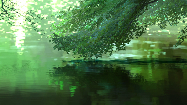 Garden of Words green trees next to water