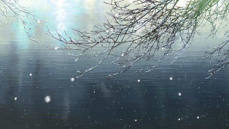 Garden of Words winter barren branches next to water