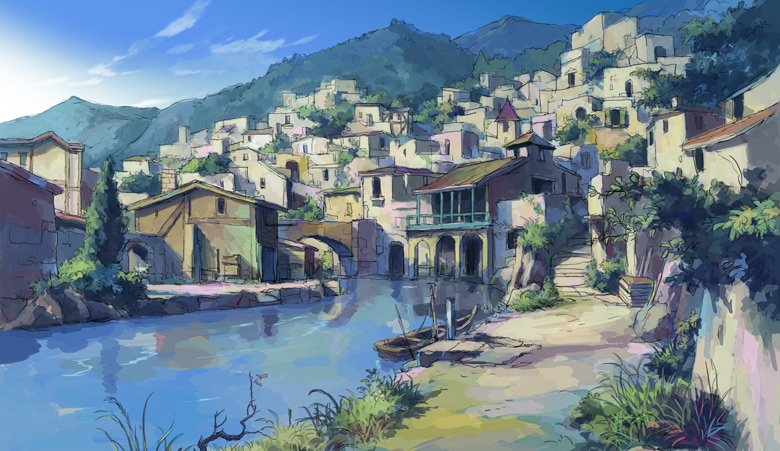 Hai to Gensou no Grimgar town by the river