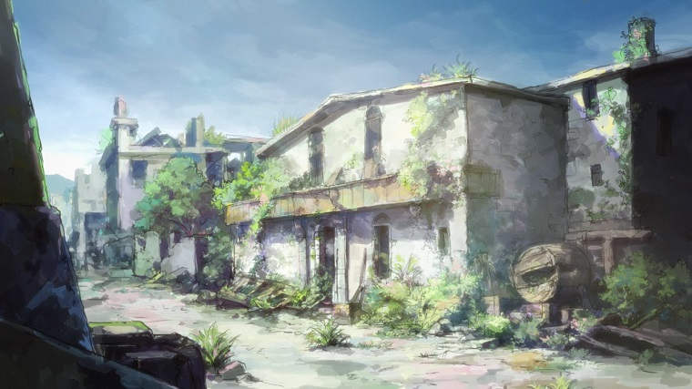 Hai to Gensou no Grimgar dilapidated and overgrown buildings