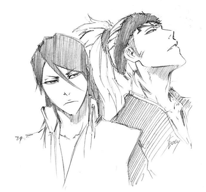 Byakuya and renji sketch