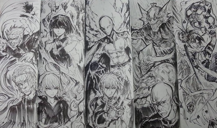 One punch man sketch collage