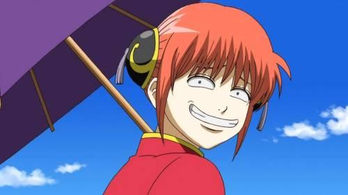 Kagura holding umbrella while grinning, Gintama