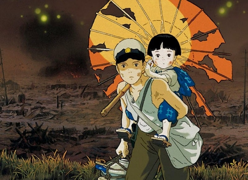 Grave of the Fireflies Setsuko on Seita's back with umbrella