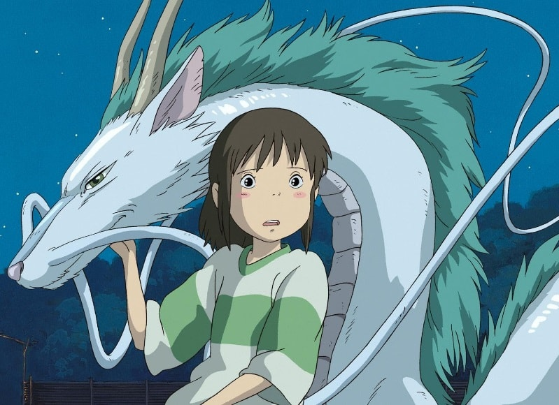 Spirited Away essential anime movie Chihiro with the dragon