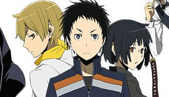 Masaomi Kida glancing sideways, Mikado Ryuugamine with stern look, Anri Sonohara holding katana, Durarara!!x2 Ketsu