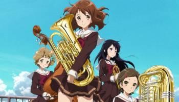 Kumiko Oumae holding baritone, Hazuki Katou next to tuba, Reina Kousaka holding trumpet, Hibike! Euphonium 2