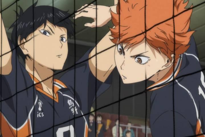 Tobio Kageyama lifting arms, Shouyou Hinata looking aggressive, Haikyuu!!: Karasuno Koukou VS Shiratorizawa Gakuen Koukou