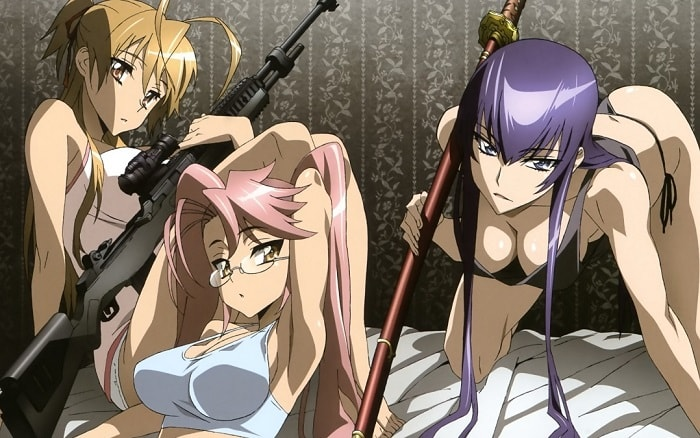 highschool of the dead girls posing sexy