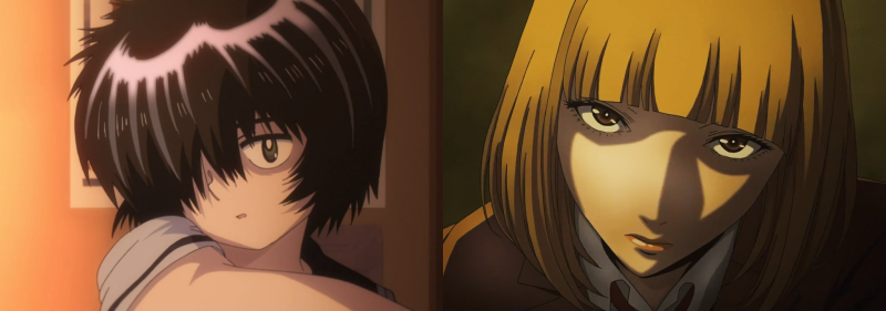 Mikoto Urabe and Hana Midorikawa with shorty hairstyles, Mysterious Girlfriend X and Prison School