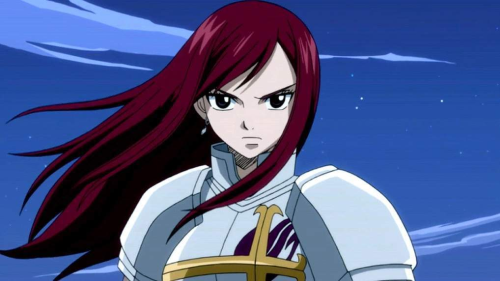Erza Scarlet with long hairstyle, Fairy Tail