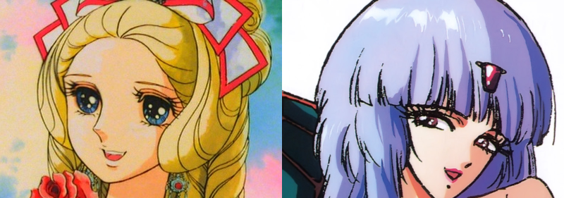 Marie Antoinette and Aisha Codante with royal hairstyles, Rose of Versailles and Five Star Stories