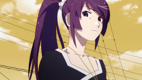 Hitagi Senjougahara with purple ponytail, Monogatari series