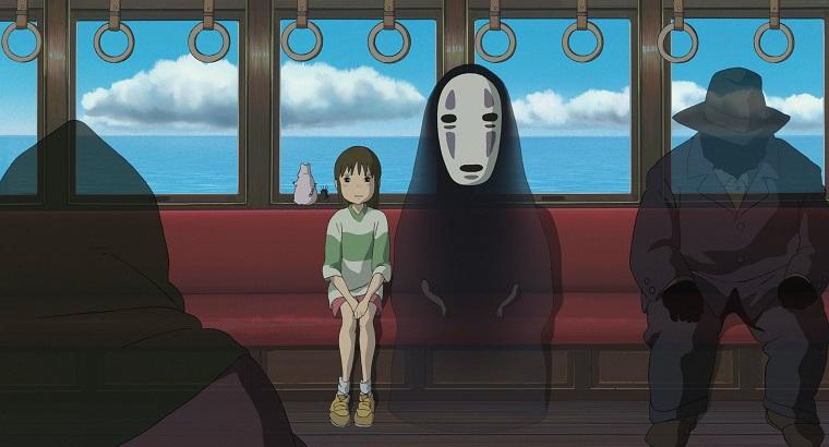 Sen to Chihiro no Kamikakushi - Chihiro and No-Face on a train Best Anime Movies to Kick-Start 2016