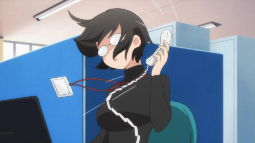 Lucy Yamagami with ahoge hair holding phone, Servant x Service