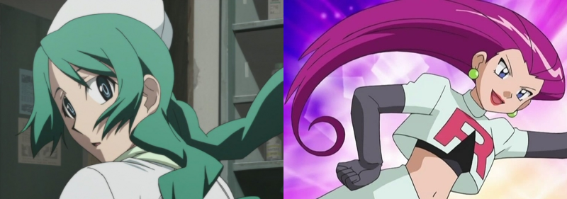 Ritsuko Kunihiro and Musashi with seriously crazy hair, Shiki and Pokemon
