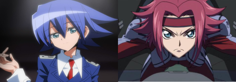 Setsuna and Kallen Stadtfeld with spiky hairstyles, Needless and Code Geass: Lelouch of the Rebellion