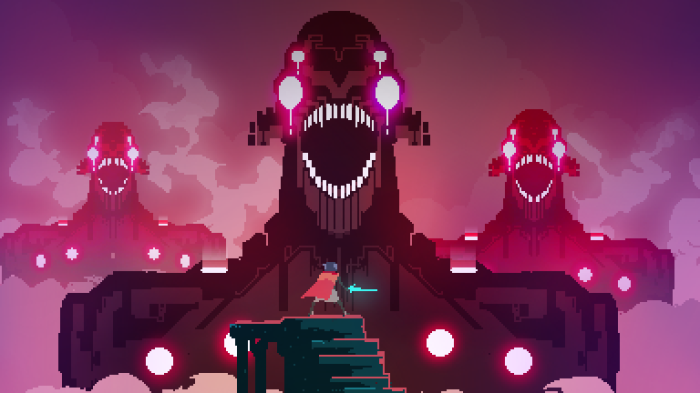 The Drifter facing giant monsters, Hyper Light Drifter