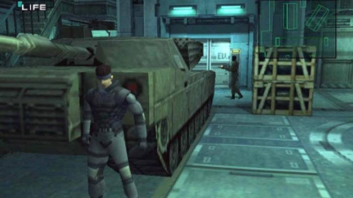 Solid Snake sneaking around, Metal Gear Solid