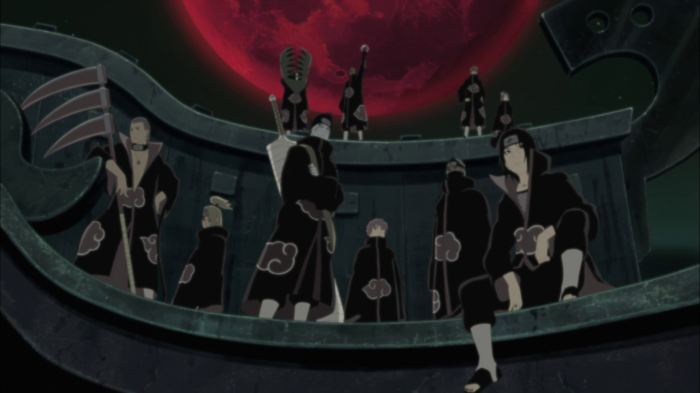 The Akatsuki standing in formation, Naruto