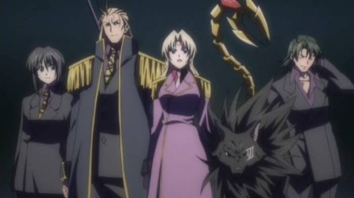 Belze Rochefort, Sephiria Arks, and Anubis striking a pose, Chronos, Black Cat