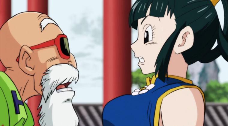 Master Roshi leering at Yurin, Master Roshi, Yurin, Dragon Ball Super