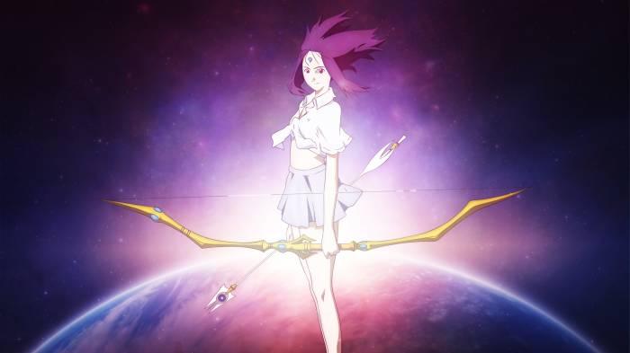 Juna Ariyoshi holding bow and arrow, Juna Ariyoshi, Chikyuu Shoujo Arjuna
