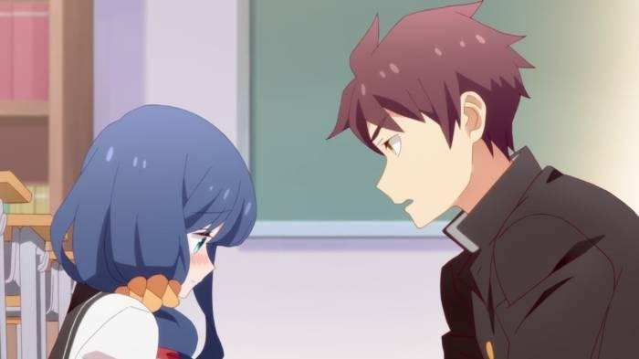Ayaka Kamine blushing while Takeru Gouda is chatting to her, Ayaka Kamine, Takeru Gouda, Tsurezure Children